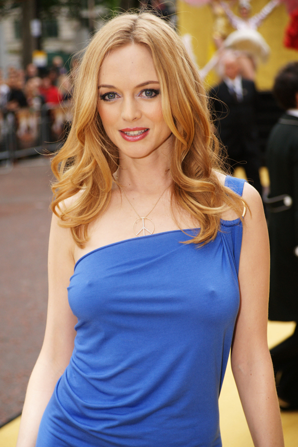 ... see it) Heather Graham sported a sexy blue dress, a peace sign necklace ...