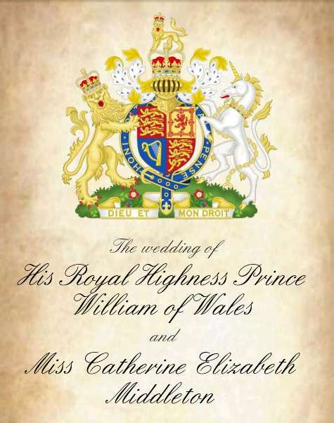 Prince William Kate Middleton Wedding Invitation