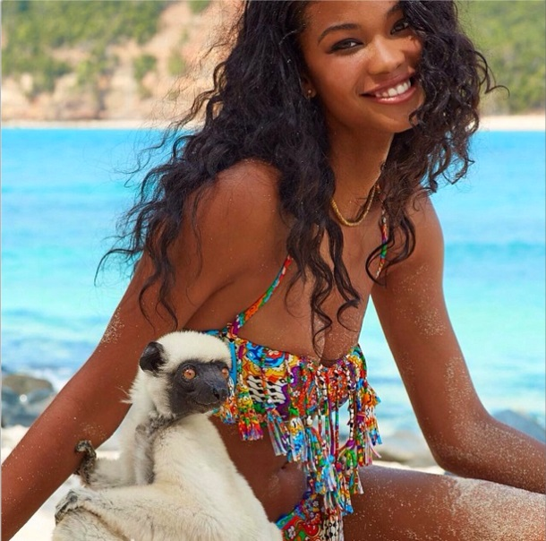 Chanel Iman Poses With A Lemur For Sports Illustrated-11d