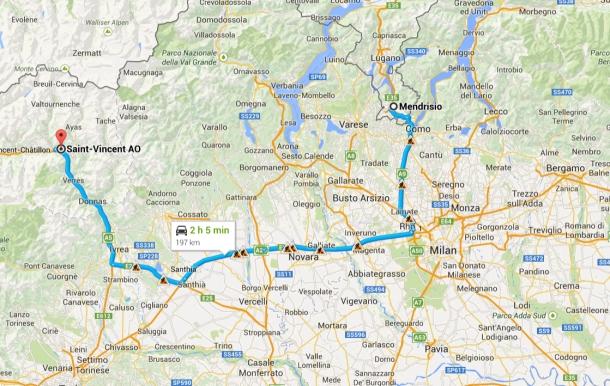 Mendrisio Switzerland Travel to Saint Vincent Italy Map-092651